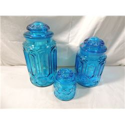 3 PIECE HEAVY BLUE GLASS CANISTER SET