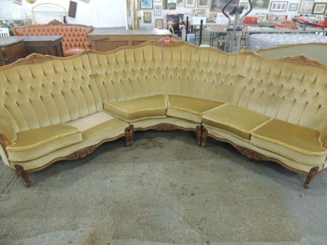 HUGE ANTIQUE HALF MOON SHAPED SOFA COUCH 3 PIECE