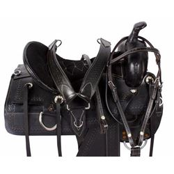 _NEW!_ New Comfy Black Pleasure Trail Western Horse Saddle 16 18 [9520] shipping included