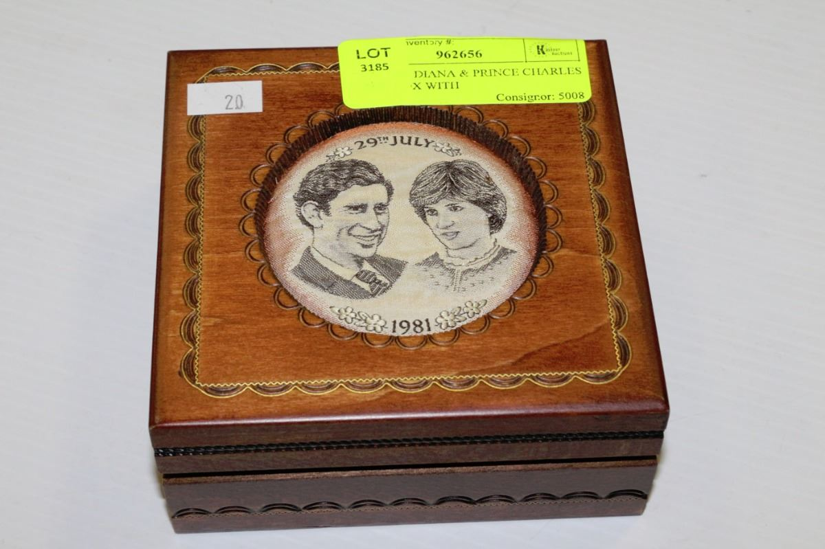 Princess diana prince charles wood box with for Princess diana jewelry box