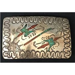 Circa 1970s Navajo Sterling Belt Buckle