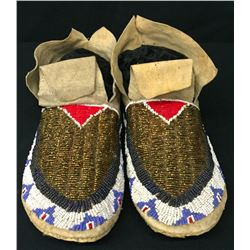 Fully Beaded Plains Moccs - Circa 1900