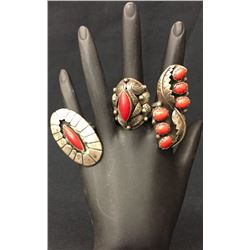 Navajo Sterling Coral Ring Lot