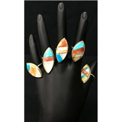 Vintage Navajo Inlay Ring Group