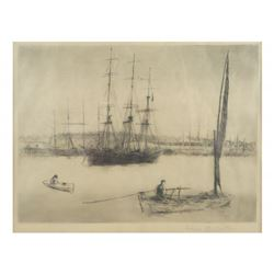 L. R. Barton, Etching - Harbor
