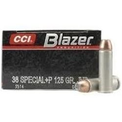 10 BOXES CCI 3514 Blazer 38 Special Jacketed Hollow Point 125 GR (500 ROUNDS) .076683035141