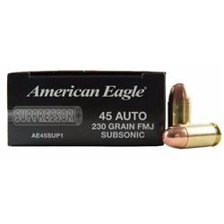 5 BOXES Federal AE45SUP1 American Eagle Suppressor 45ACP 230GR FMJ (250 ROUNDS) .029465064044