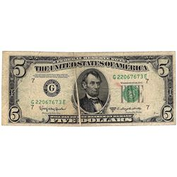 1950D $5 Federal Reserve Note ERROR Double Gutter Fold