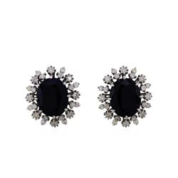 14KT White Gold 16.05ctw Sapphire and Diamond Earrings