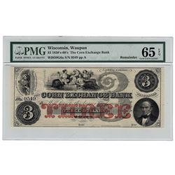 1850's-60's $3 Corn Exchange Bank Wisconsin Note PMG 65EPQ