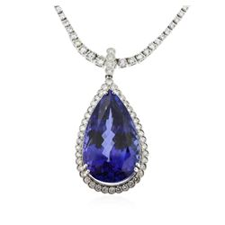 14-18KT White Gold 36.63ct Tanzanite and Diamond Pendant With Chain