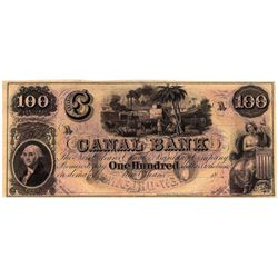 1800's $100 Canal Bank New Orleans Obsolete Currency Note