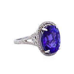 14KT White Gold 10.20ct Tanzanite and Diamond Ring