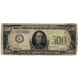 1934-A $500 San Francisco CA FRN MULE Five Hundred Dollar Bill