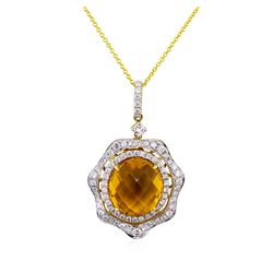 14KT Yellow Gold 7.56ct Citrine and Diamond Pendant with Chain
