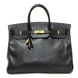 Authentic Vintage Hermes 40cm Birkin Bag in Black Ardenne Leather with Gold Hard