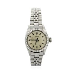 Ladies Stainless Steel Rolex Oyster Perpetual Watch with Diamond Bezel
