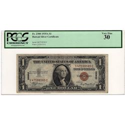1935A $1 Emergency Hawaii Silver Certificate Note PCGS Graded VF30