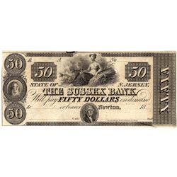 1800's $50 State of New Jersey Sussex Bank Obsolete Currency Note