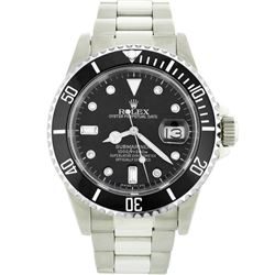 Mens Rolex Stainless Steel Date Submariner Watch with Diamond Dial