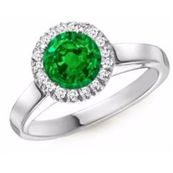 Natural Round Emerald & Diamond 1.94 Carats Gold Ring