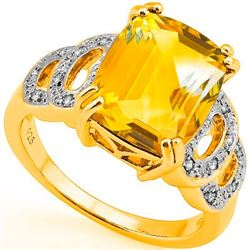 Natural Citrine & Diamond Ring