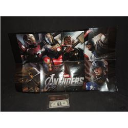 AVENGERS PROMO POSTER SIGNED BY ROBERT DOWNEY JR CHRIS EVANS & CHRIS HEMSWORTH