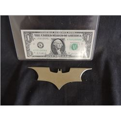 BATMAN THE DARK KNIGHT SCREEN USED HERO METAL BATARANG 1