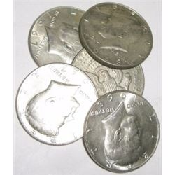 5 TOTAL SILVER KENNEDY HALF DOLLARS *MIXED DATES & GRADES-NICE EARLY SILVER HALF DOLLARS*!!