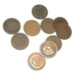 10 TOTAL INDIAN HEAD PENNIES *NICE MIXTURE OF DATES & GRADES*-SEPERATED INTO LOTS OF TEN FROM HUHGE