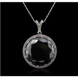 14KT White Gold 114.88ct Black and White Diamond Pendant With Chain