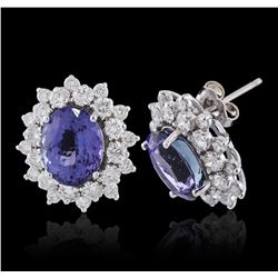 14KT White Gold 5.82ctw Tanzanite and Diamond Earrings