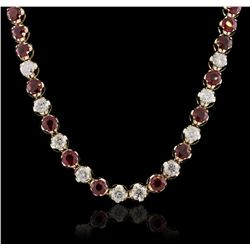 14KT Yellow Gold 10.56ctw Ruby and Diamond Necklace