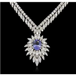 14KT White Gold 3.87ct Tanzanite and Diamond Necklace