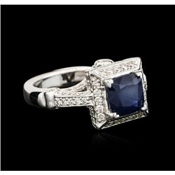 14KT White Gold 2.47ct Sapphire and Diamond Ring