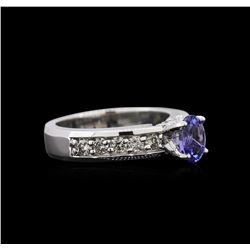 0.82ct Tanzanite and Diamond Ring - 14KT White Gold