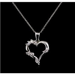 0.44ctw Diamond Pendant With Chain - 14KT White Gold
