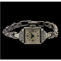 Hamilton 14KT White Gold Diamond Ladies Vintage Watch