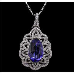 14KT White Gold 8.01ct Tanzanite and Diamond Pendant With Chain