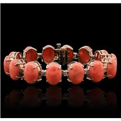 14KT Rose Gold 65.20ctw Coral and Diamond Bracelet