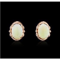 14KT Rose Gold 7.00ctw Opal and Diamond Earrings