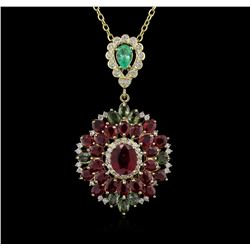 14KT Yellow Gold 16.54ctw Ruby, Emerald, Sapphire and Diamond Pendant With Chain