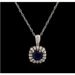 3.30ct Tanzanite and Diamond Pendant With Chain - 14KT White Gold