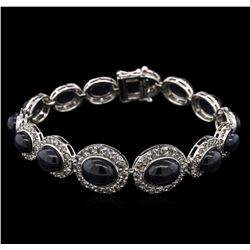 35.86ctw Sapphire and Diamond Bracelet - 14KT White Gold