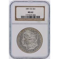 1891-CC NGC Graded MS62 $1 Carson City Morgan Silver Dollar Coin