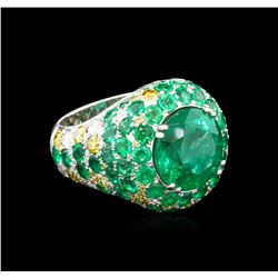 GIA Certified 17.47ctw Emerald and Diamond Earrings and Ring Set - 18KT White Go