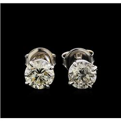 2.17ctw Diamond Solitaire Earrings - 14KT White Gold