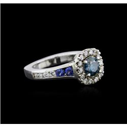 1.23ctw Fancy Blue Diamond and Sapphire Ring - 14KT White Gold