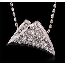 14KT White Gold 2.56ctw Diamond Pendant With Chain