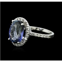 14KT White Gold 5.79ct Tanzanite and Diamond Ring